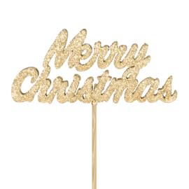 kerststeker merry christmas goud