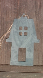 zinken label huisje met spitse punt op dak
