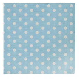 papieren servetten licht blauw met stippen