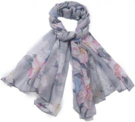 sjaal flower grijs