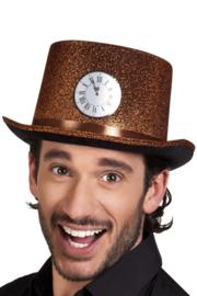 hoge hoed koper met klok