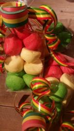 zakje spekbollen rood/geel/groen
