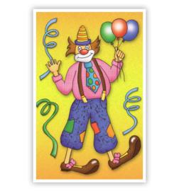 kaart clown met 3 ballonnen