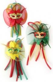 broche/haarclip met masker en tubes | rood/geel/groen