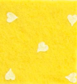 vilt met hartjes geel