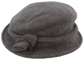 wollen hoed met bloem | grijs