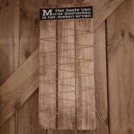 houten memo bord met touw