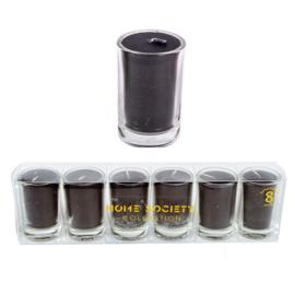 6 glaasjes met kaarsje |zwart