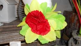 haarclip bloem rood/geel/groen