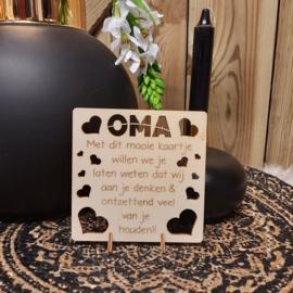 houten kaart mijn oma