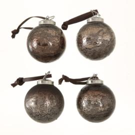 glazen kerstbal | antiek bruin