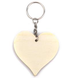 houten sleutelhanger hart