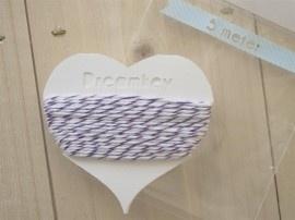 5 meter Divine touw / bakkerstouw met kaartje | paars