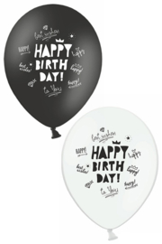 ballon zwart/wit happy birthday