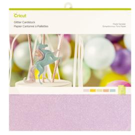 Glitter Cardstock Sampler, Pastel - 30 x 30 cm