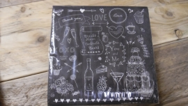 Duni servetten | zwart met diverse teksten