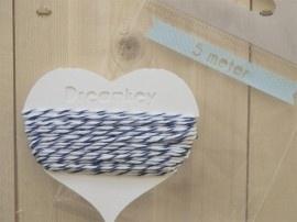 5 meter Divine touw / bakkerstouw met kaartje | donker blauw