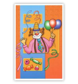 carnavalskaart clown met stropdas/ballonnen/snoepjes