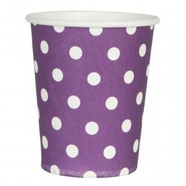 papieren bekers paars met witte stippen