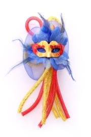 broche bloem rood/geel/blauw