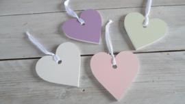 houten hart pastel tinten