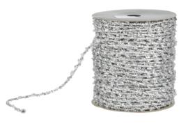 metallic glitter elastisch koord zilver