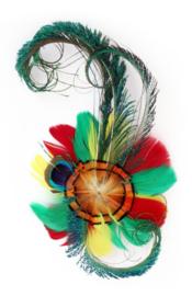 veren haarclip/broche rood/geel/groen