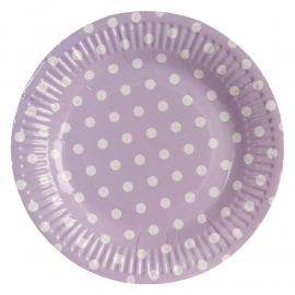 papieren bordjes lila met stippen