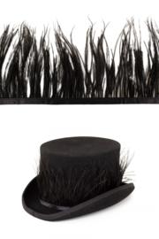 struisvogelveer op band zwart