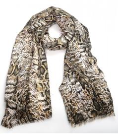 sjaal | slangen print oker/geel