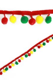 pompom band rood/geel/groen ( 2.75 mtr )