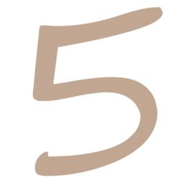 Houten cijfer 5  3,7cm 3mm