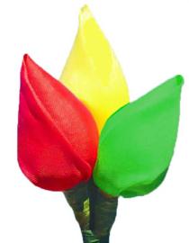 stoffen tulpenbroche rood/geel/groen