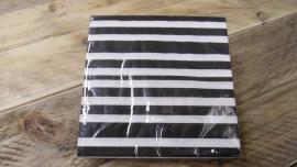 duni servetten | zwart/wit gestreept