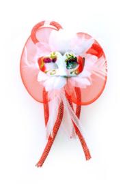 broche/haarclip bloem rood/wit