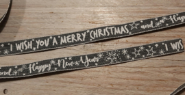 grijs lint I wish you a merry christmas