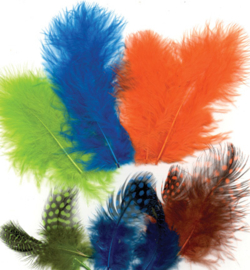 marabou/parelhoen  veertjes neon mix color