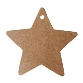 Kraft label ster set van 10 stuks