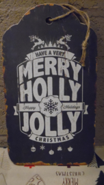 tekstbord | Merry holly jolly