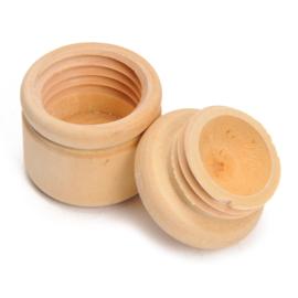 houten tandendoosje met schroefdeksel