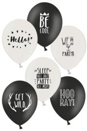 zwart/wit ballonnen | gemengde teksten