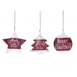 metalen kersthanger rood/wit