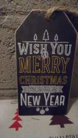 houten label: wish you a merry christmas