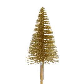 gouden glitter kerstboom op steker | goud