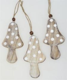 houten hanger paddenstoel bruin/wit