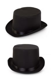 hoge hoed zwart satijn