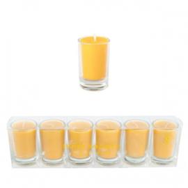 6 glaasjes met kaarsje | okergeel