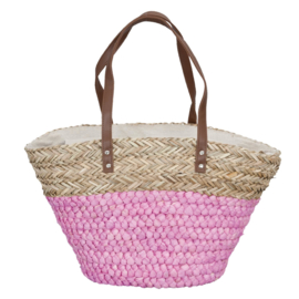 shopper zeegras | naturel/roze