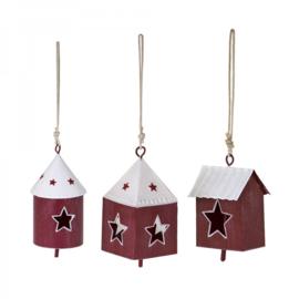 metalen huisjes rood/wit