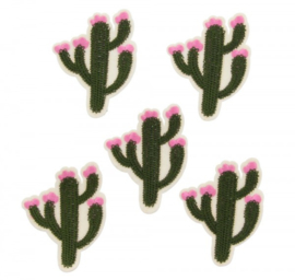 patch/applicatie cactus met roze bloem